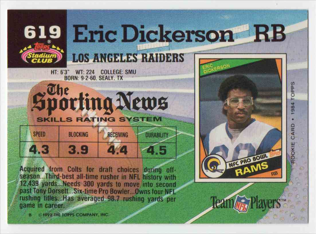 1992 Stadium Club Eric Dickerson #619 card back image