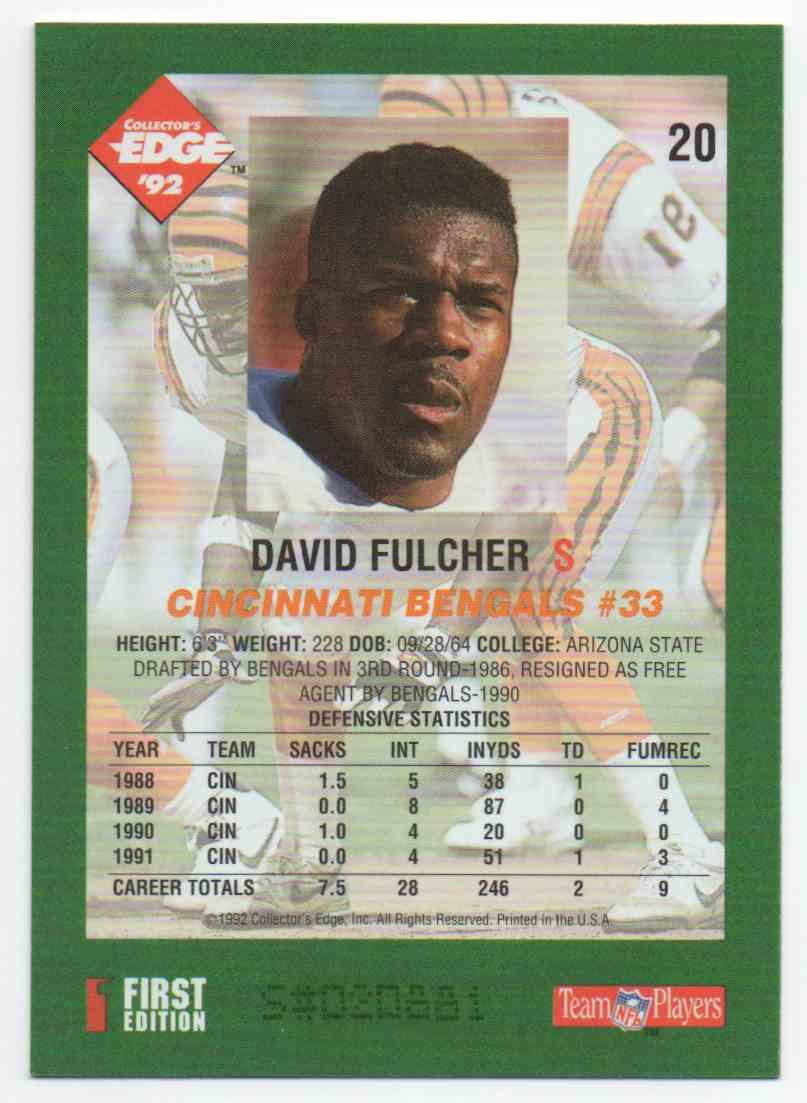 1992 Collectors Edge David Fulcher #20 card back image