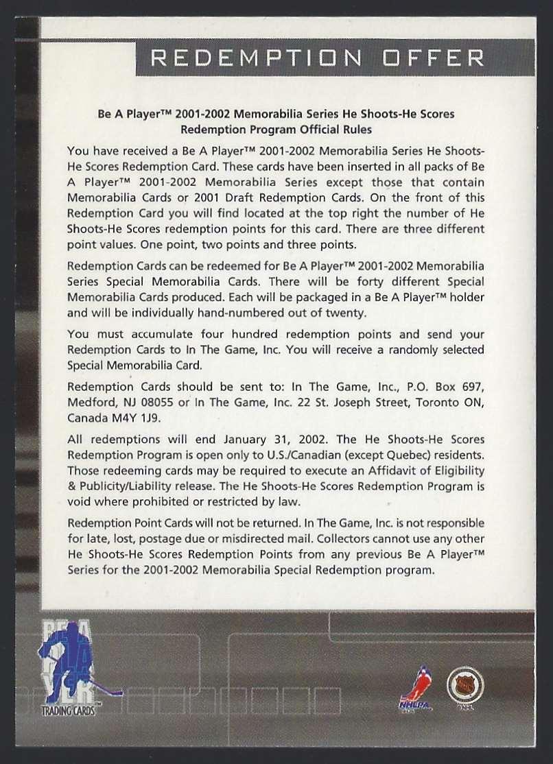 2000-01 Bap Memorabilia He Shoots-He Scores Points Roman Cechmanek #1 card back image
