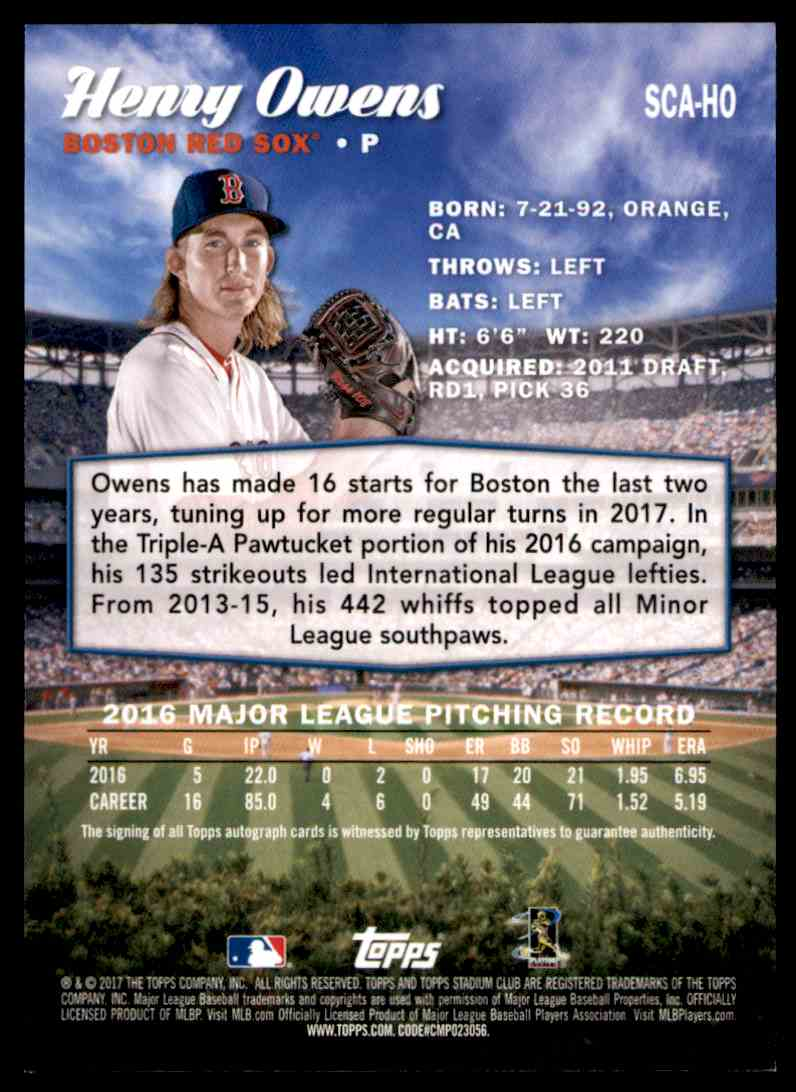 2017 Topps Stadium Club Henry Owens #SCA-HO card back image