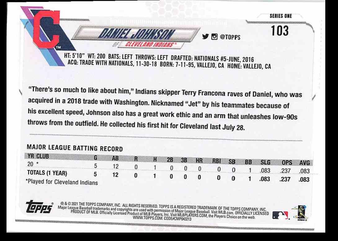 2021 Topps Series 1 Daniel Johnson #103 card back image