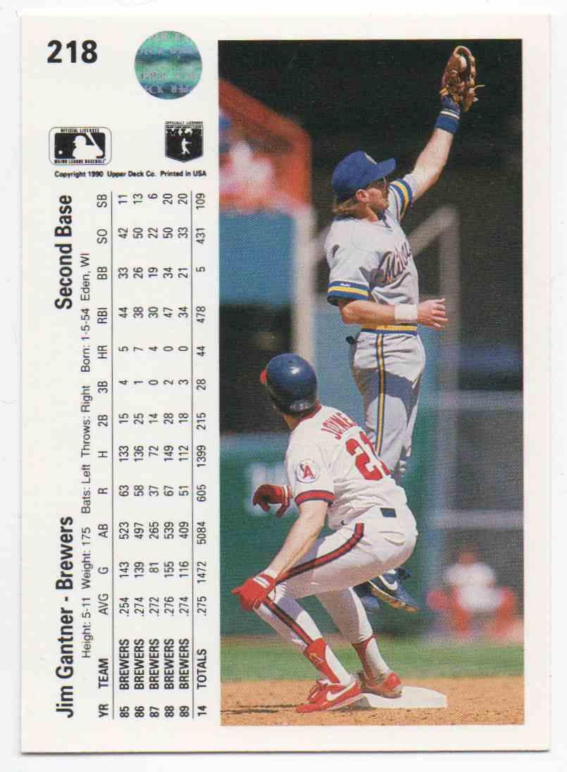 1990 Upper Deck Jim Gantner #218 card back image