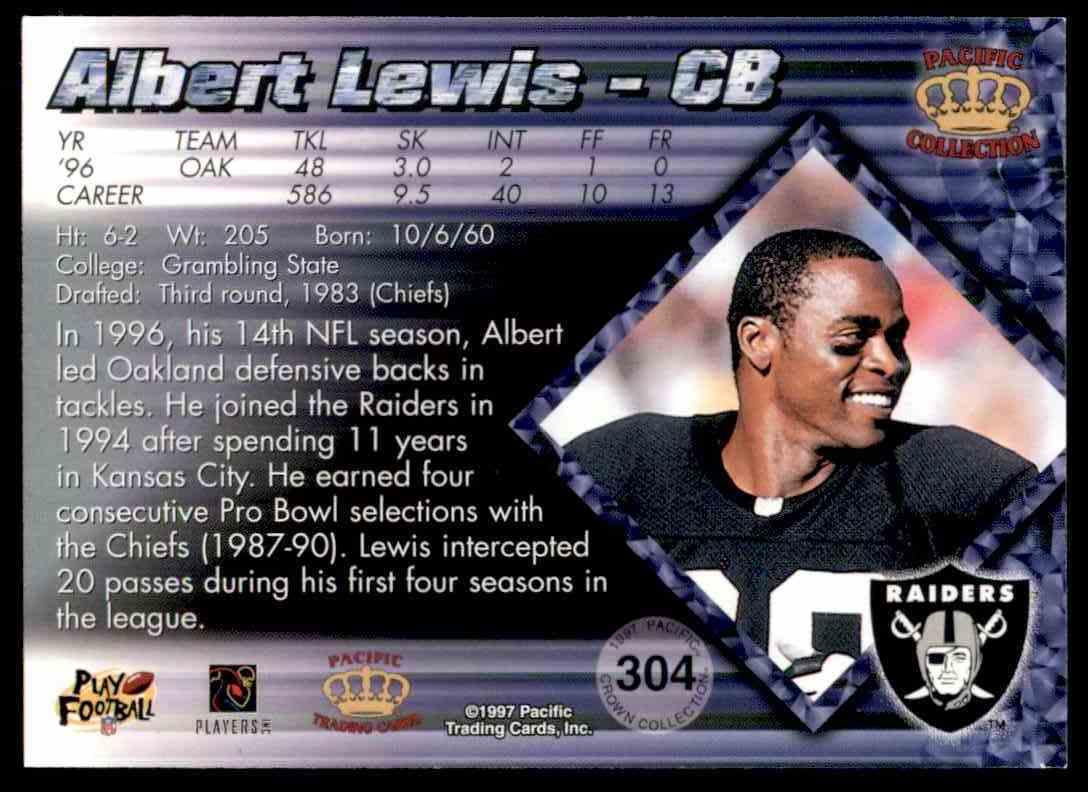 1997 Pacific Albert Lewis #304 card back image