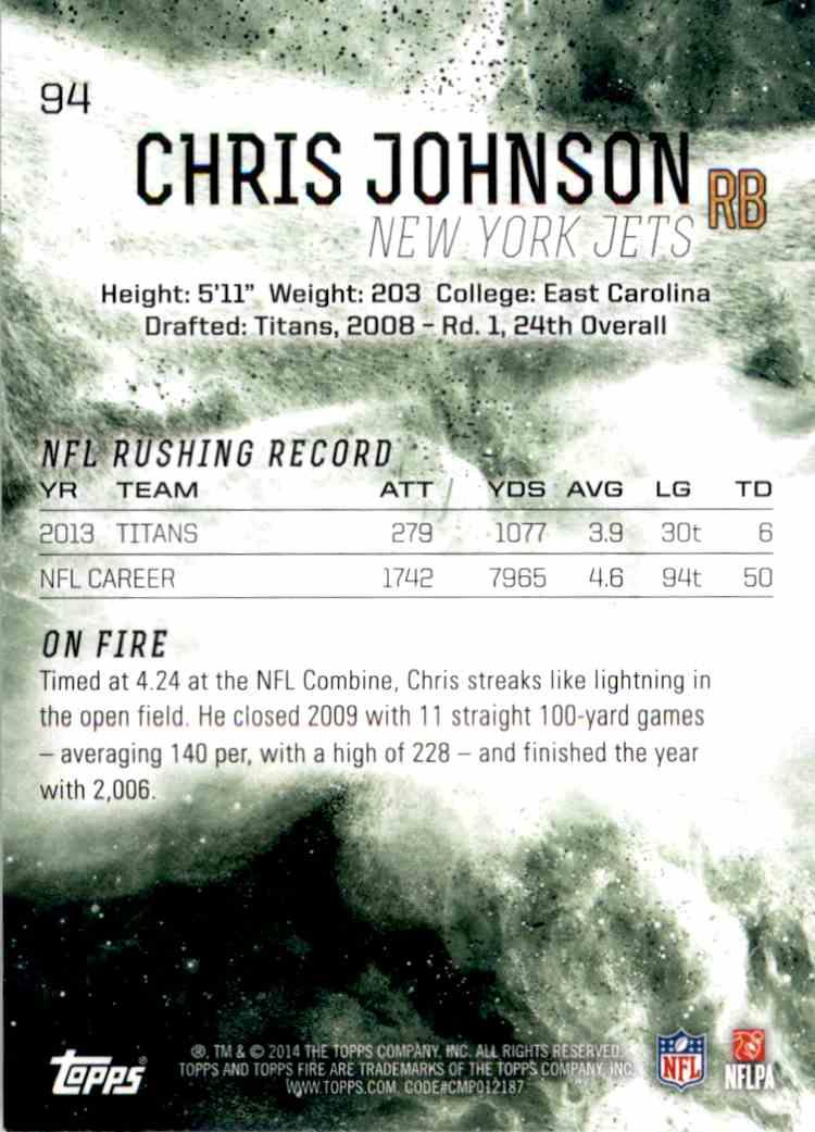 2014 Topps Fire Chris Johnson #94 card back image