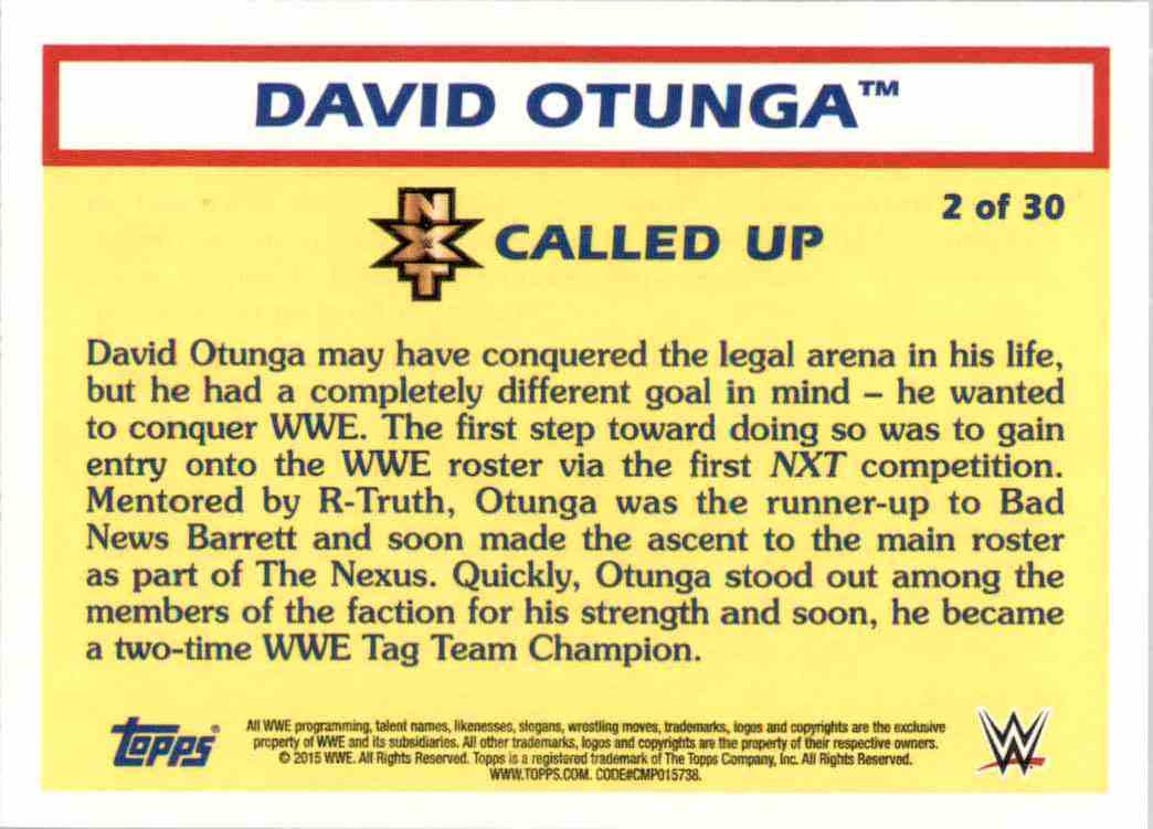 2015 Topps Heritage Wwe Nxt Called Up David Otunga #2 card back image
