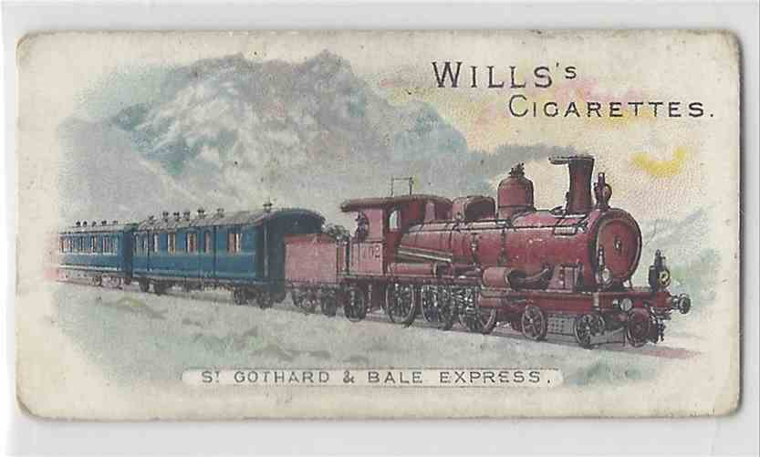 1901 Will's Locomotives & Rolling Stock St. Gothard & Bale Express #NON card front image