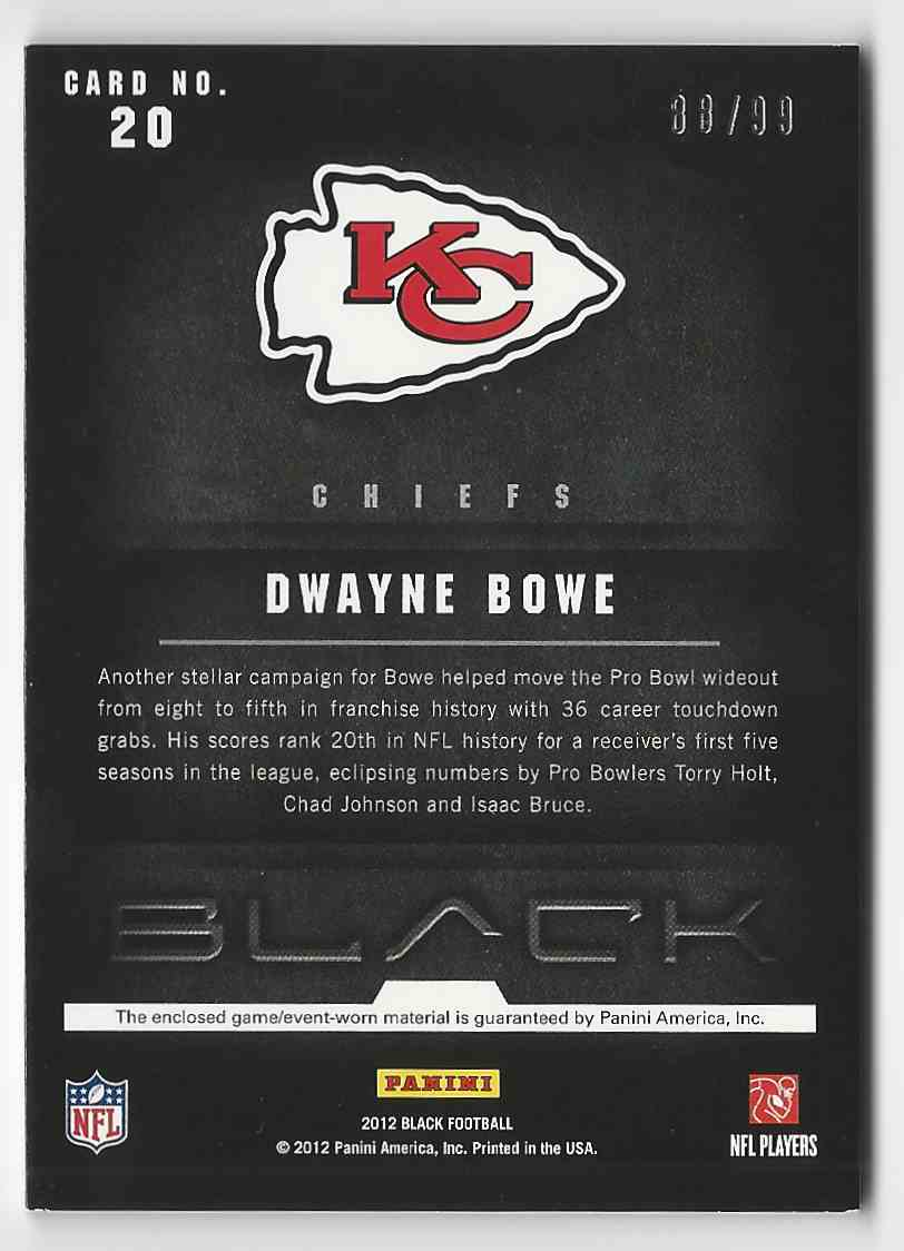2012 Panini Black NFL Equipment Combos Dwayne Bowe #20 card back image