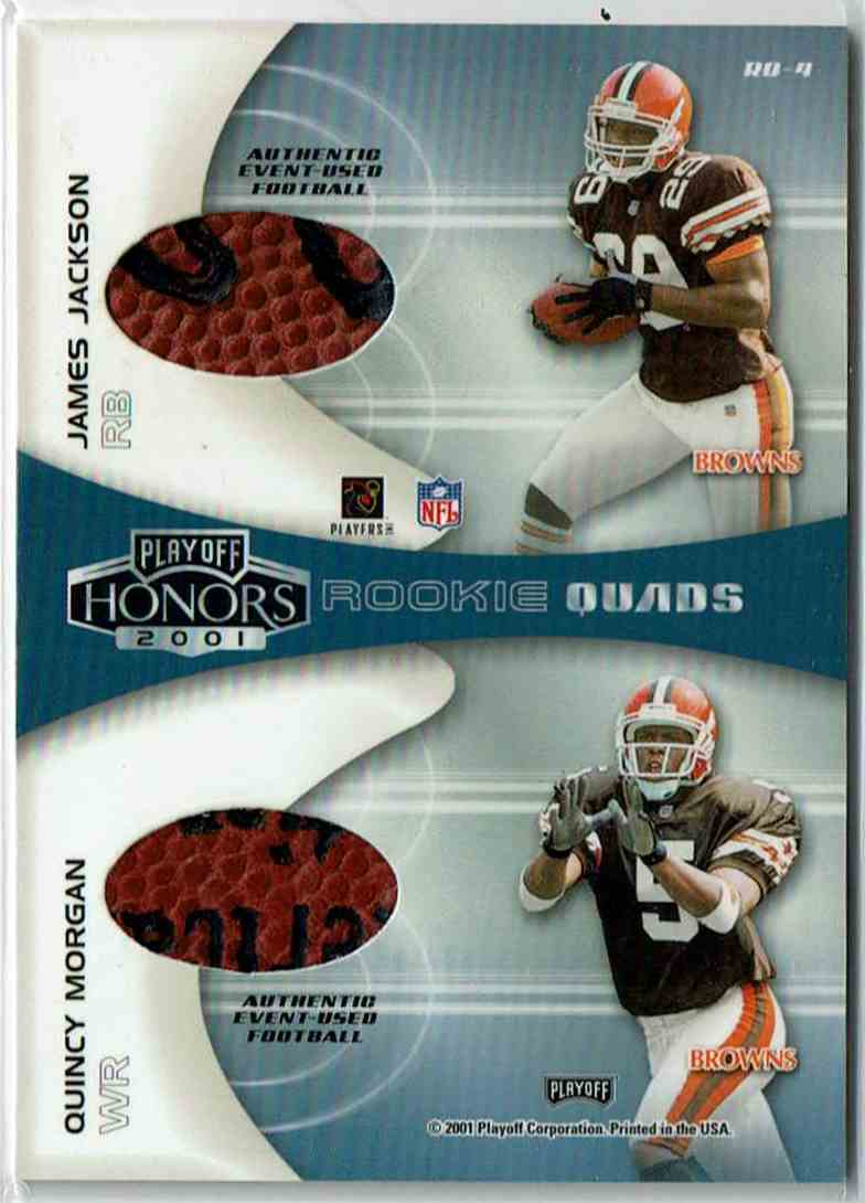 2001 Playoff Honors Rookie Quads Footballs Travis Minor, Quincy Morgan, Josh Heupel, James Jackson #RQ-4 card back image