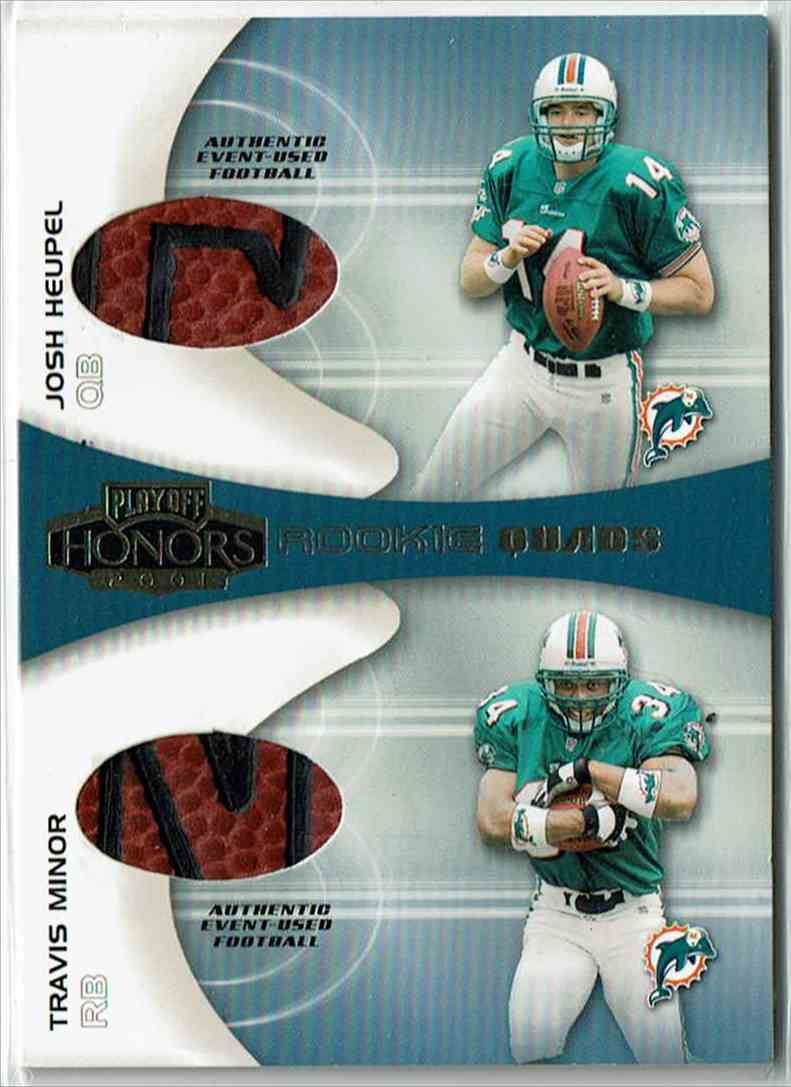2001 Playoff Honors Rookie Quads Footballs Travis Minor, Quincy Morgan, Josh Heupel, James Jackson #RQ-4 card front image