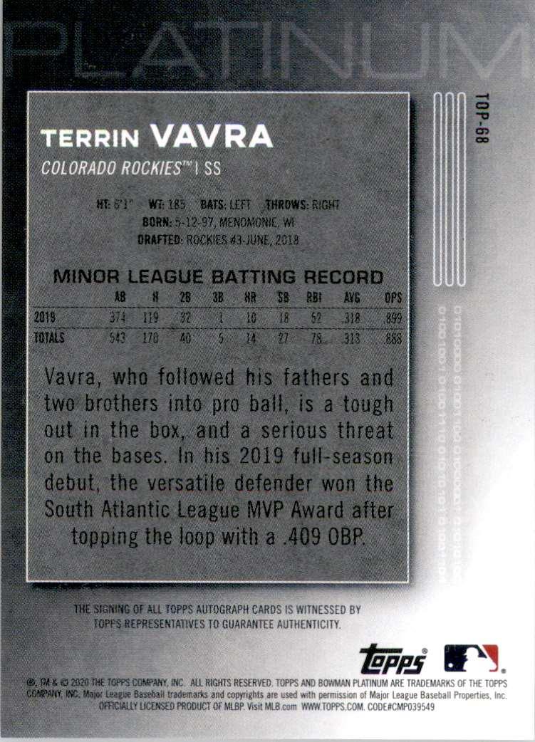 2020 Bowman Platinum Top Prospect Autographs Terrin Vavra #TOP68 card back image