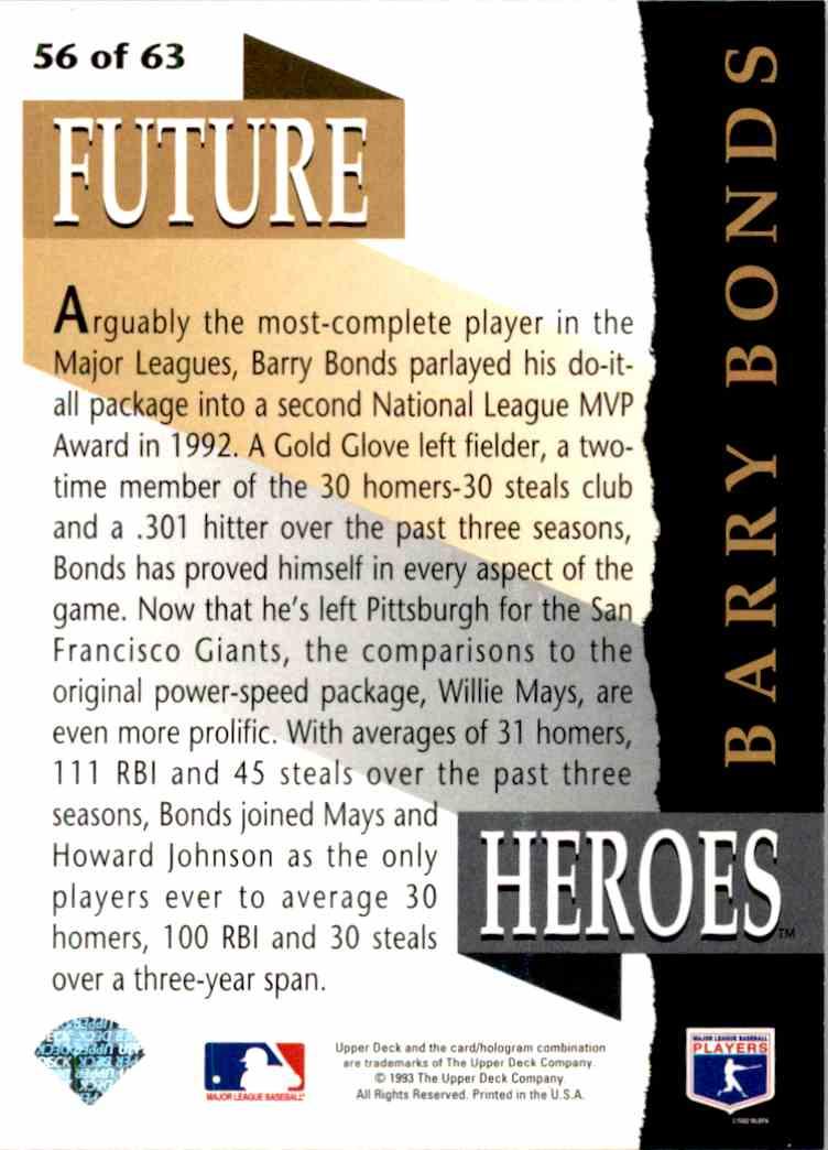 1993 Upper Deck Series 2 Future Heros Barry Bonds #56 card back image
