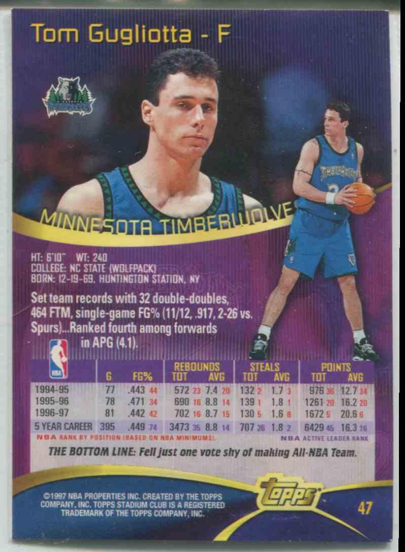 1997 98 Stadium Club Tom Gugliotta 47 on Kronozio