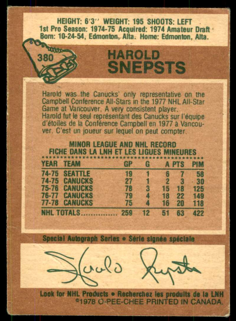 1978-79 OPC Harold Snepsts #380 card back image