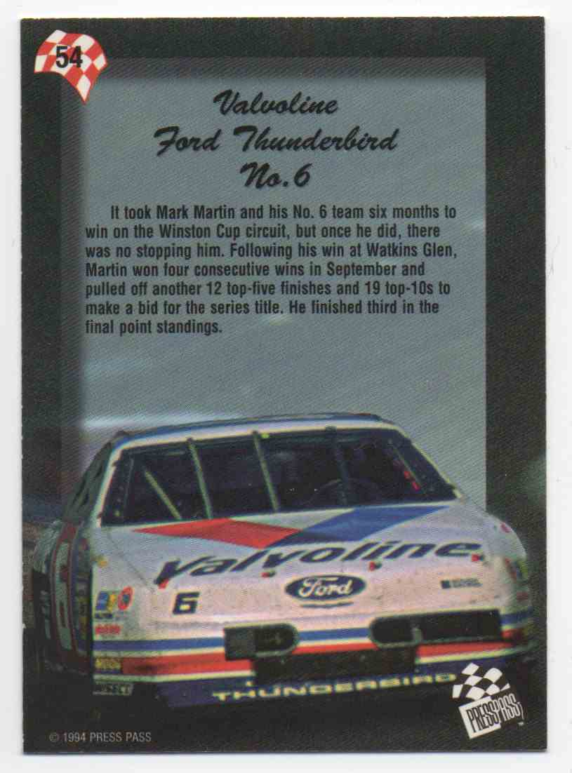 1994 Press Pass Mark Martin #54 card back image