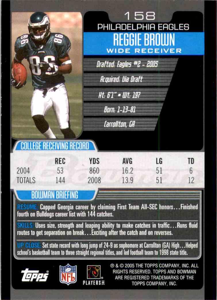 2005 Bowman Reggie Brown RC #158 card back image