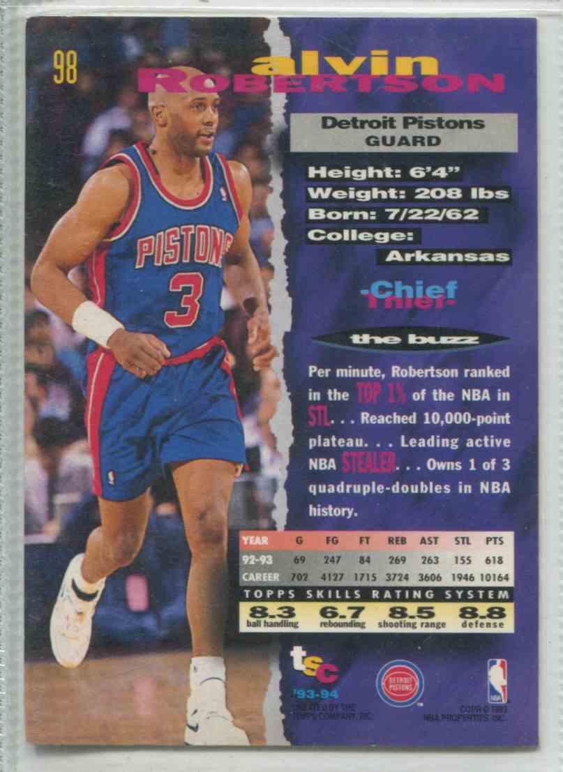 1993 94 Stadium Club Alvin Robertson 98 on Kronozio
