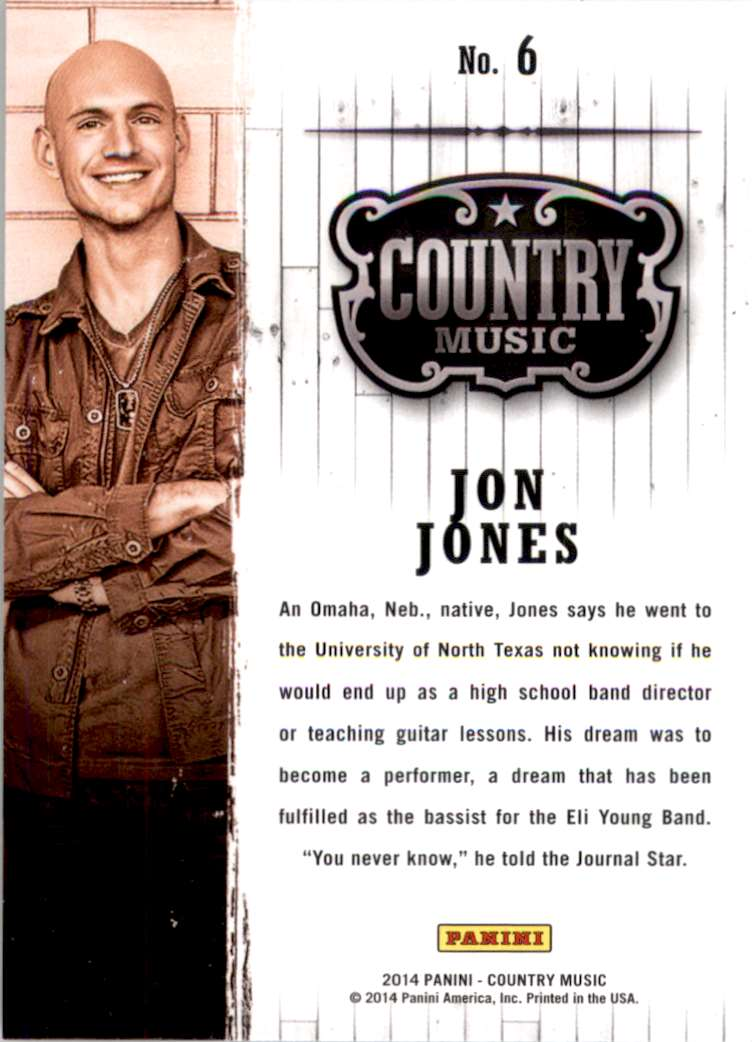 2015 Country Music Retail Jon Jones #6 card back image