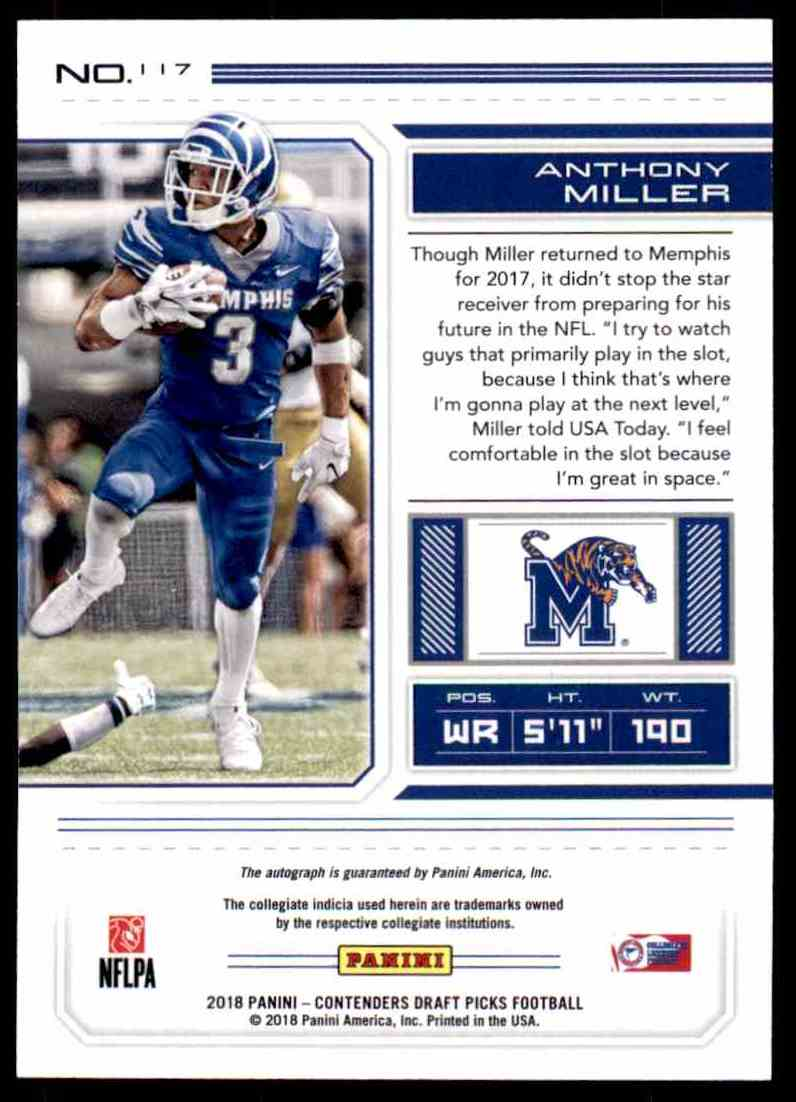 new arrival 18a08 da142 2018 Panini Contenders Draft Picks Football Anthony Miller ...