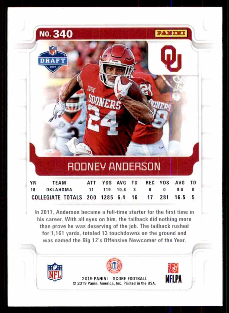 2019 Score Rodney Anderson #340 card back image