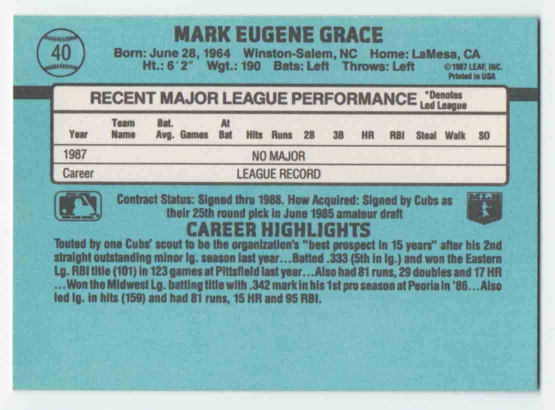 1988 Donruss Mark Grace #40 card back image