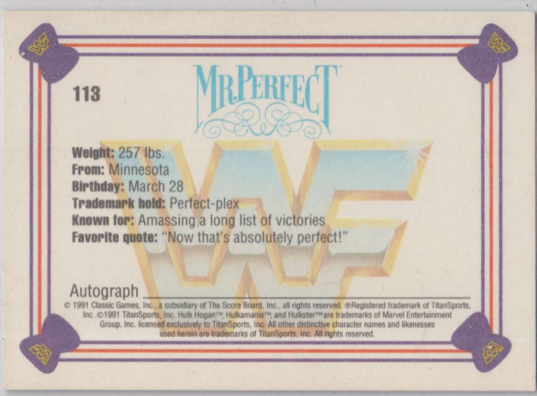 1991 Classic WWF Superstars MR Perfect #113 card back image