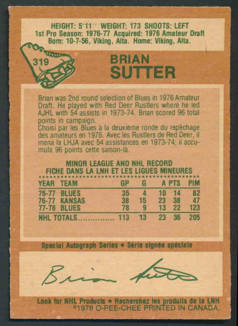 1978-79 O-Pee-Chee Brian Sutter #319 card back image