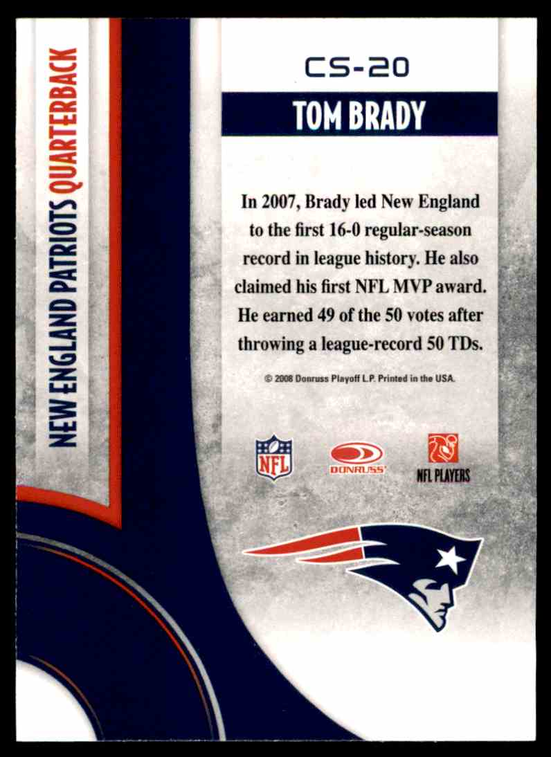 2008 Donruss Threads Century Stars Tom Brady #CS-20 card back image