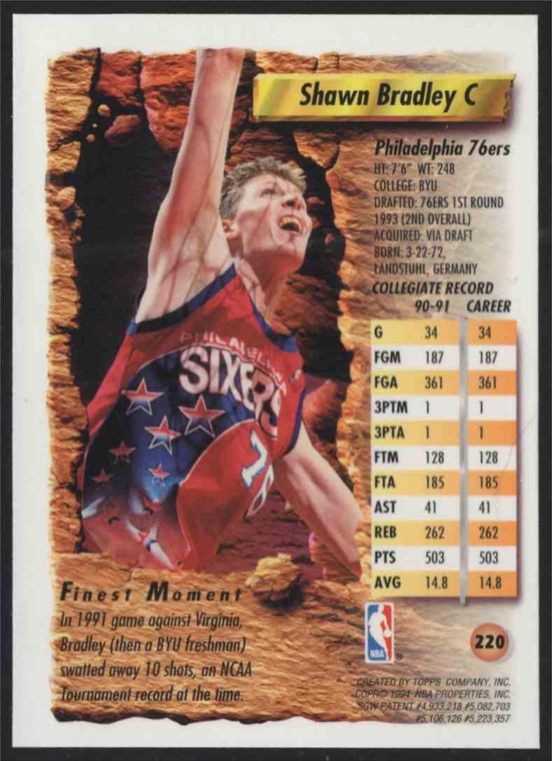 1993-94 Finest Shawn Bradley #220 card back image