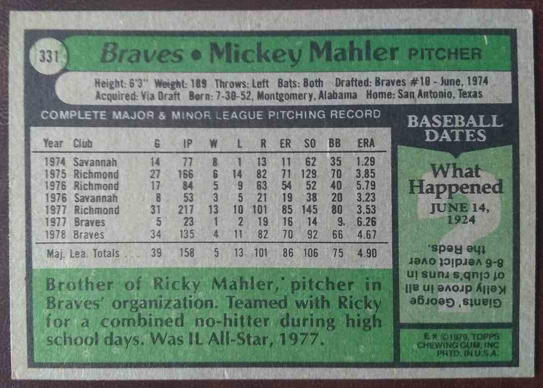 1979 Topps Mickey Mahler #331 card back image