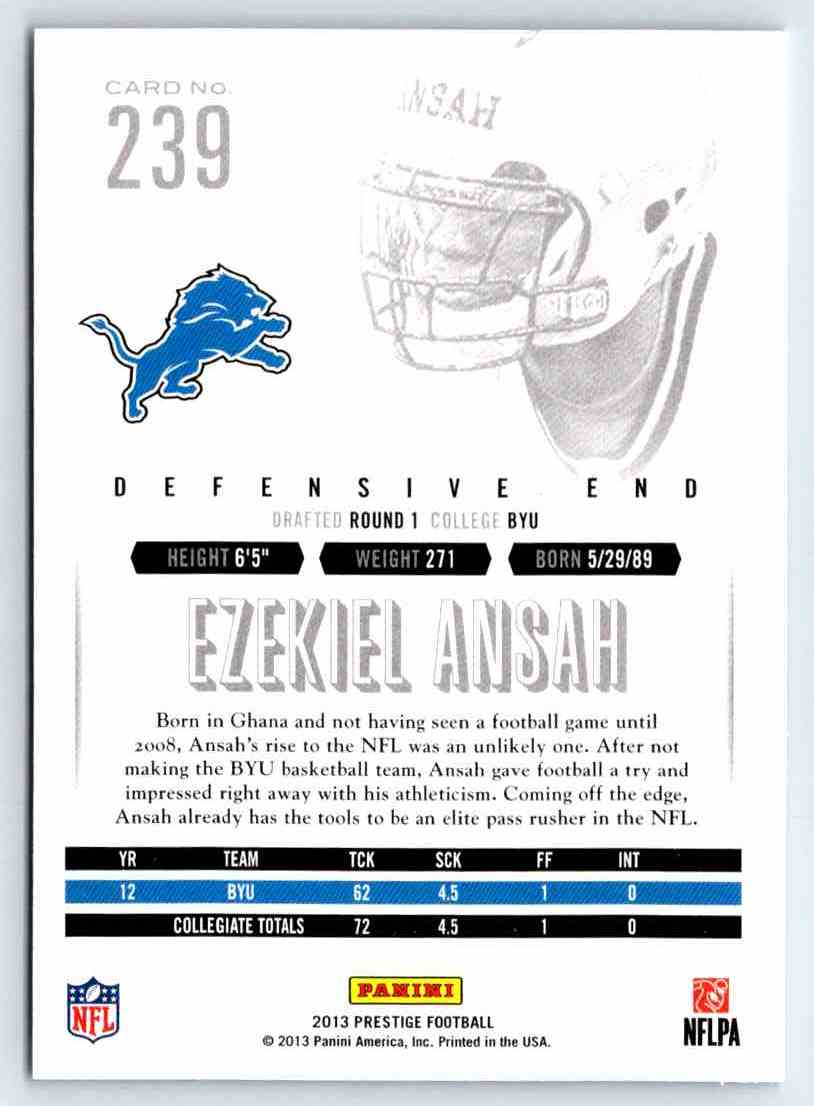 2013 Prestige Ezekiel Ansah #239 card back image