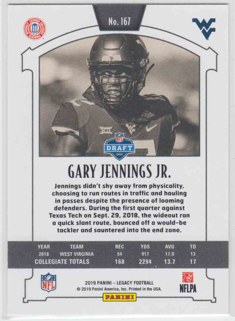 2019 Panini Legacy Rookie Red Gary Jennings JR. #167 card back image