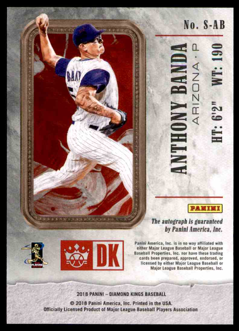 2018 Panini Diamond Kings Rookie Signatures Anthony Bando #S-AB card back image