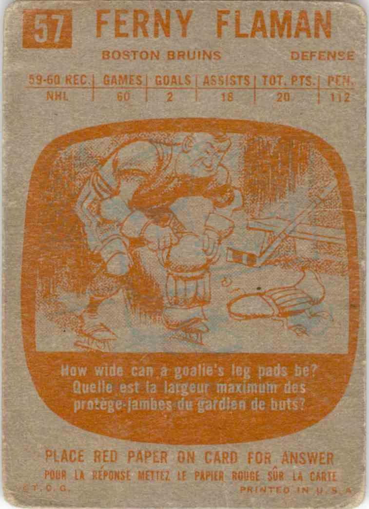1960-61 Topps Fern Flaman #57 card back image