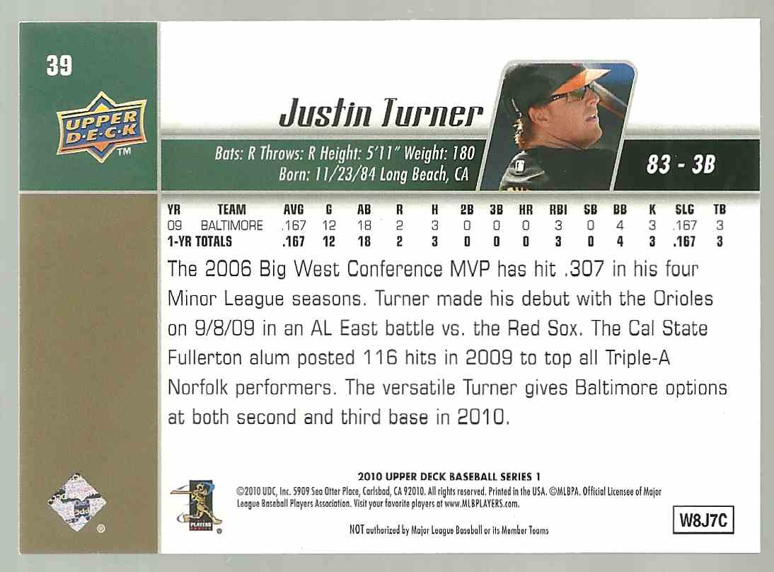 2010 Upper Deck Justin Turner #39 card back image