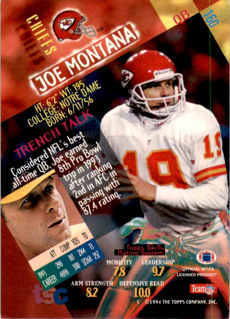 1994 Stadium Club First Day Joe Montana #160 card back image