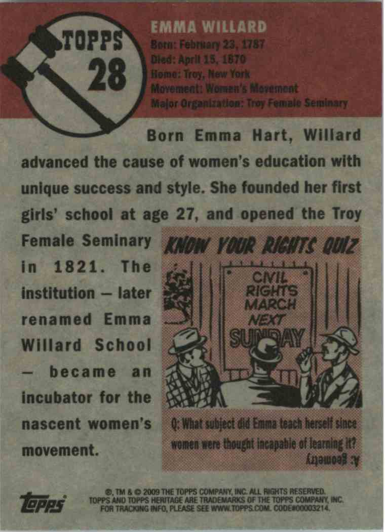 2009 Topps Heritage Emma Willard #28 card back image
