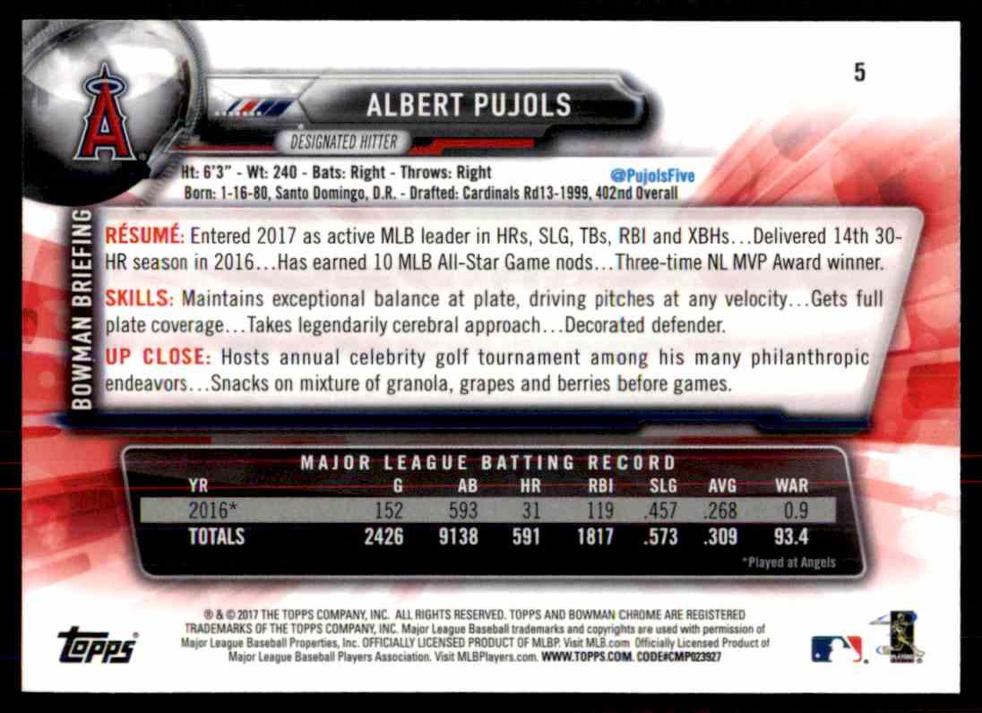 2017 Bowman Chrome Albert Pujols #5 card back image