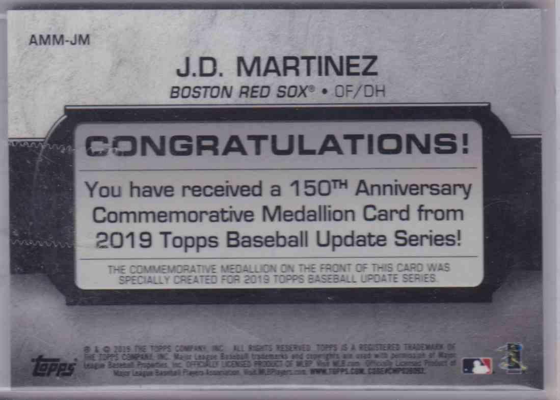 2019 Topps Baseball 150th Anniversary Commemorative Medallion J.D. Martinez #AMM-JM card back image