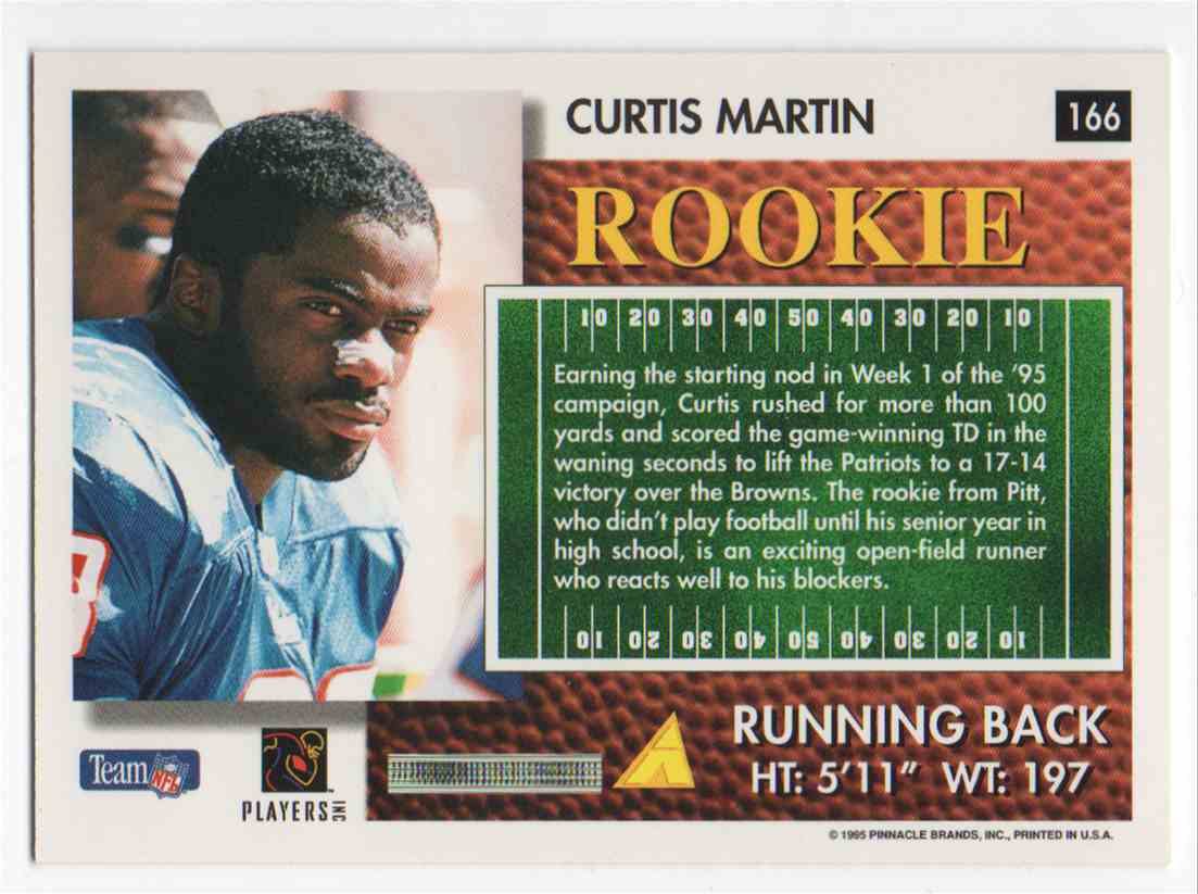 1995 Summit Curtis Martin #166 card back image