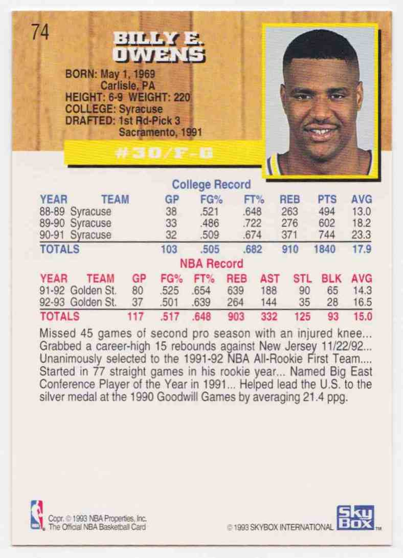 1993 94 NBA Hoops Base Billy Owens 74 on Kronozio