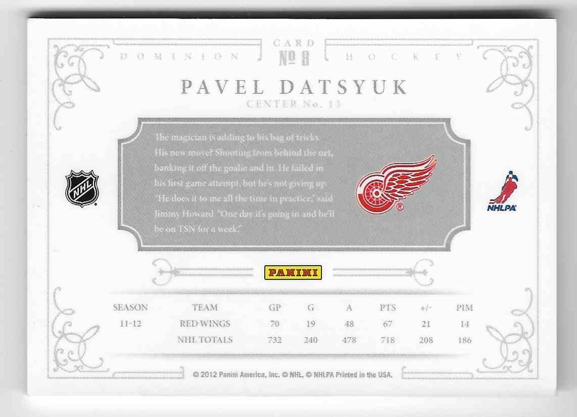 2012-13 Panini Dominion Pavel Datsyuk #8 card back image