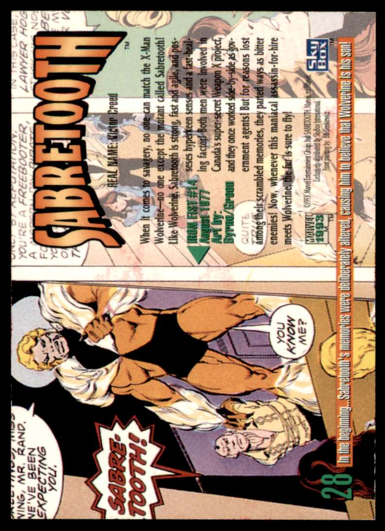 1993 Marvel Masterpieces Sabertooth #28 card back image