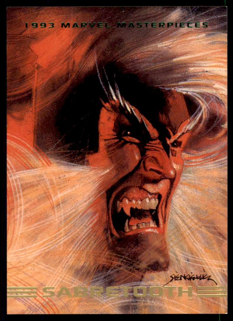 1993 Marvel Masterpieces Sabertooth #28 card front image