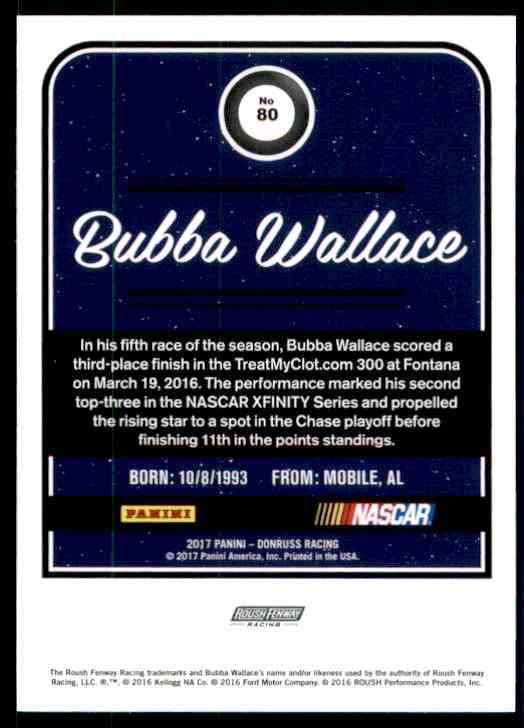 2017 Donruss Bubba Wallace #80 card back image