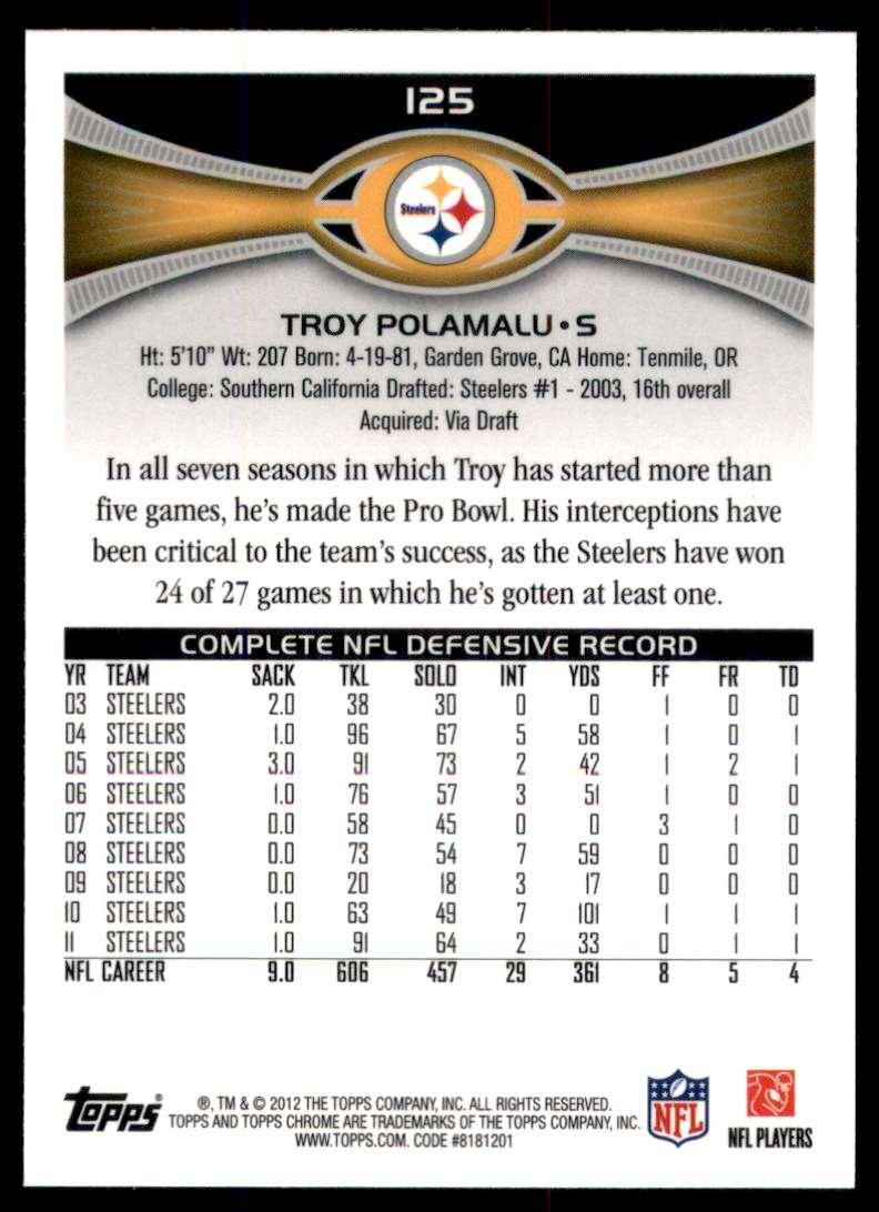 2012 Topps Chrome Troy Polamalu #125 card back image