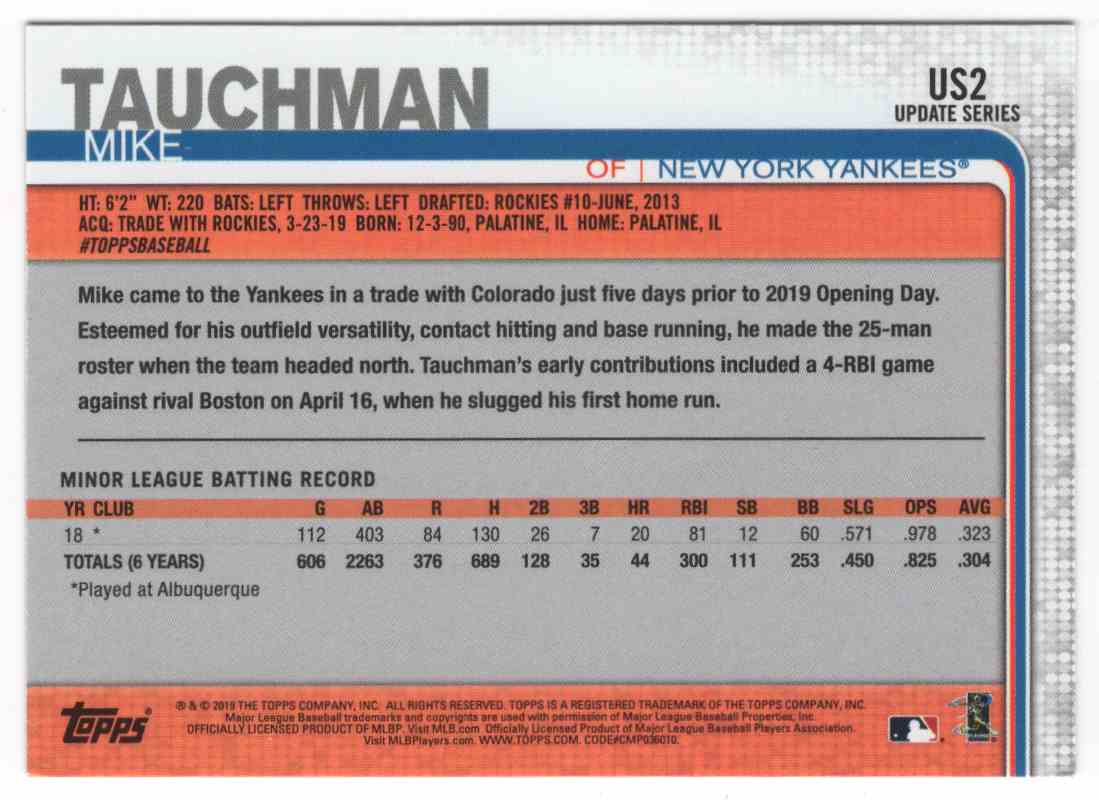 2019 Topps Update Mike Tauchman #US2 card back image