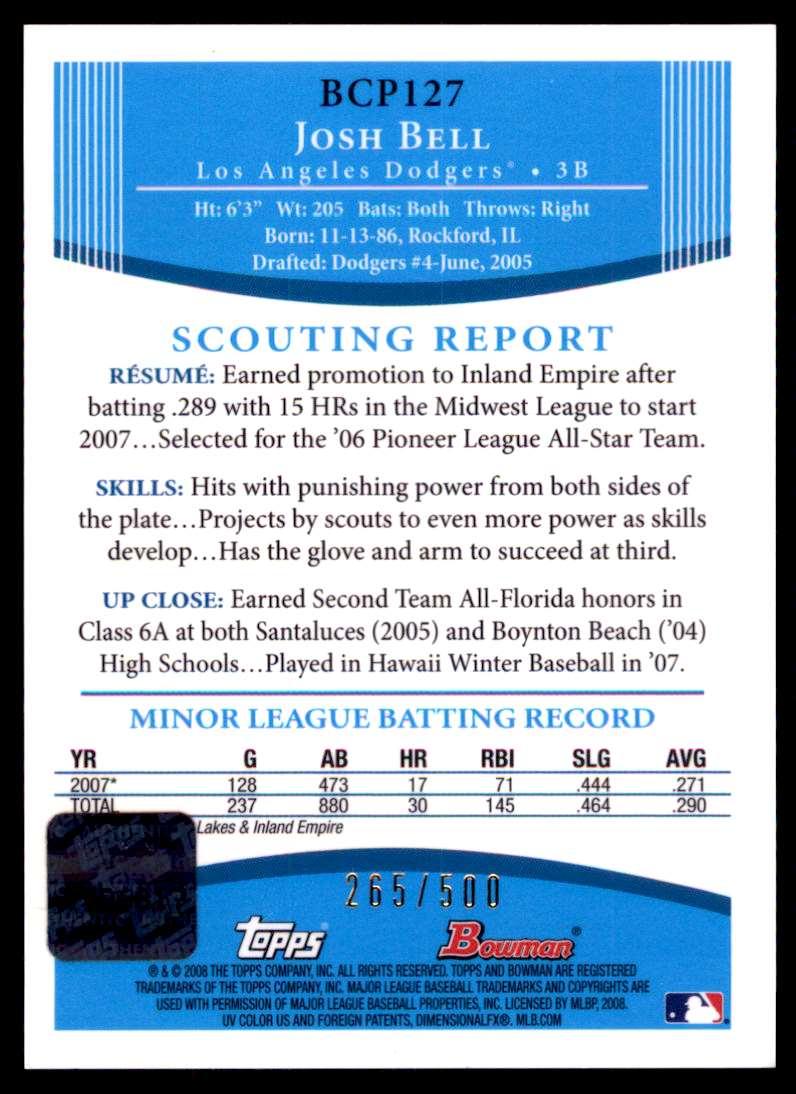 2008 Bowman Chrome [Base] Josh Bell #BCP127 card back image