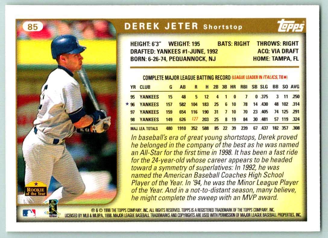1999 Topps Derek Jeter #85 card back image