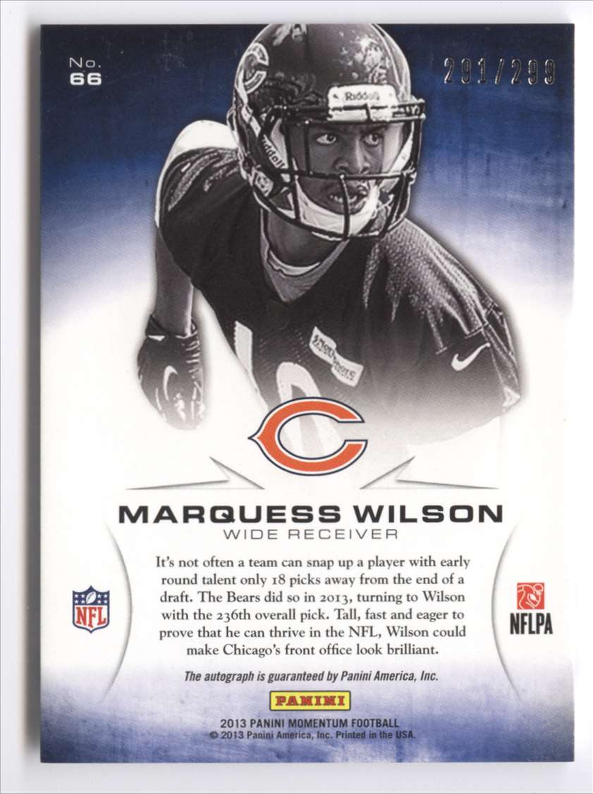 2013 Panini Momentum Rookie Initiation Signatures Marquess Wilson #66 card back image