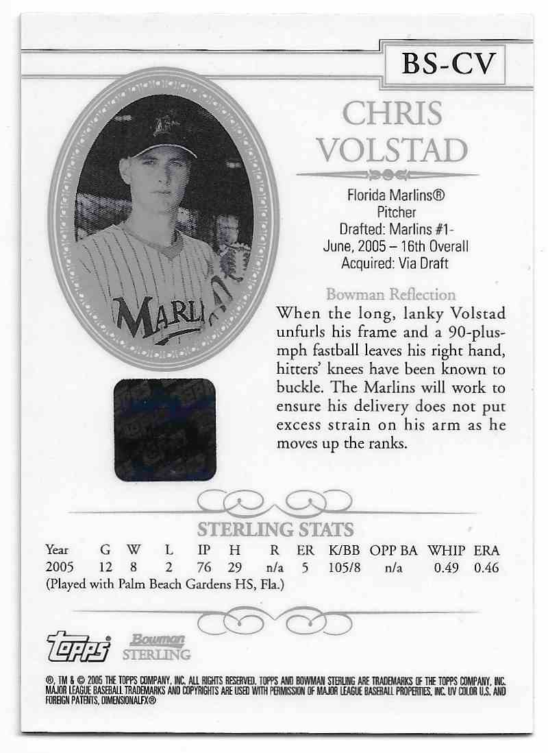 2005 Bowman Sterling Chris Volstad #BS-CV card back image
